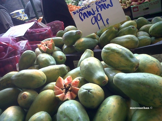 Papaya. Another name for it is 'Paw-Paw'. In Bangla we call it 'Pepe'. Not pronounced 'pee' but 'pe' as in pencil