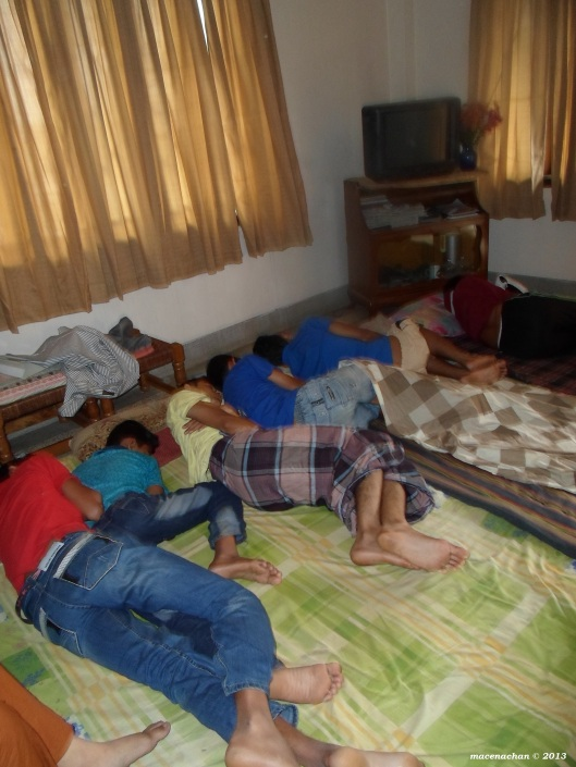The day we left: we all slept late and the boys had to bunk together in one room. It was funny how we found them all on each other pillows, forcing the other to fall onto another :p