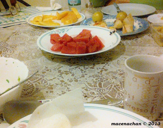 This doesn't look like a lot but this is after the meal. There are 3 plates worth of fruit and they were piled high!