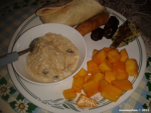 The bowl had dessert. Sweet vermicelli in milk with raisins. Yum!