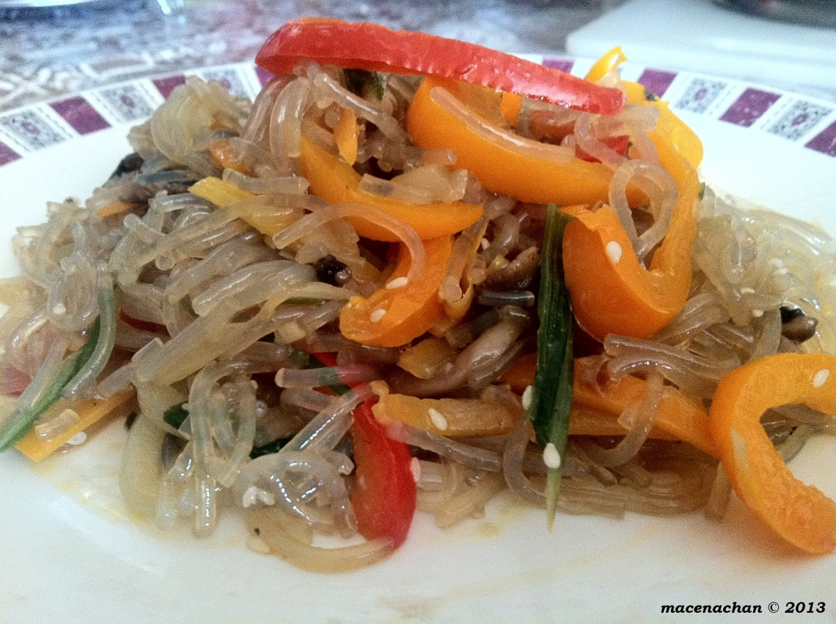 How to make Jap Chae (Korean glass noodle dish)