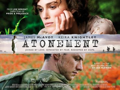 Film Cover (Source: http://novelssince1900.blogspot.co.uk/2008/04/atonement-2001.html)