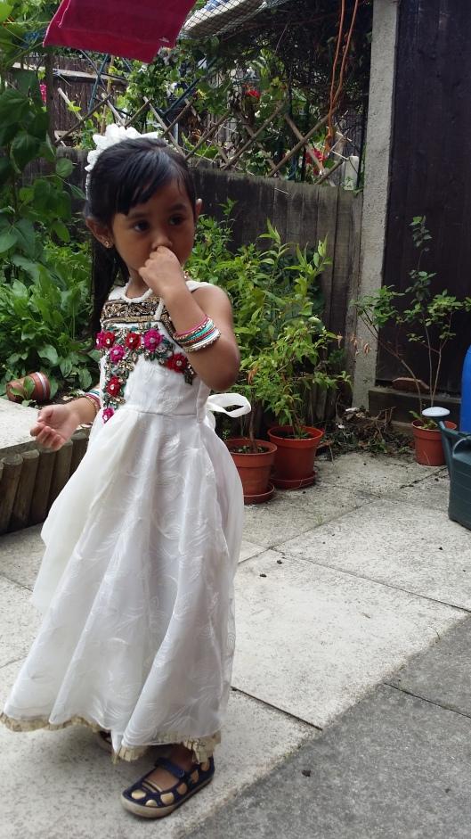 My weird niece (3 yrs) on Eid =D