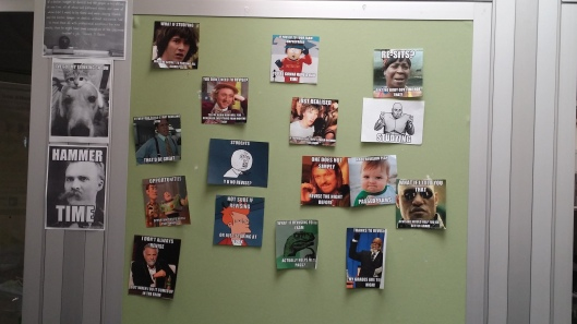 Our wall of study memes at work :D